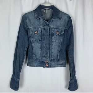 TRF denim jean jacket, rose gold buttons, small